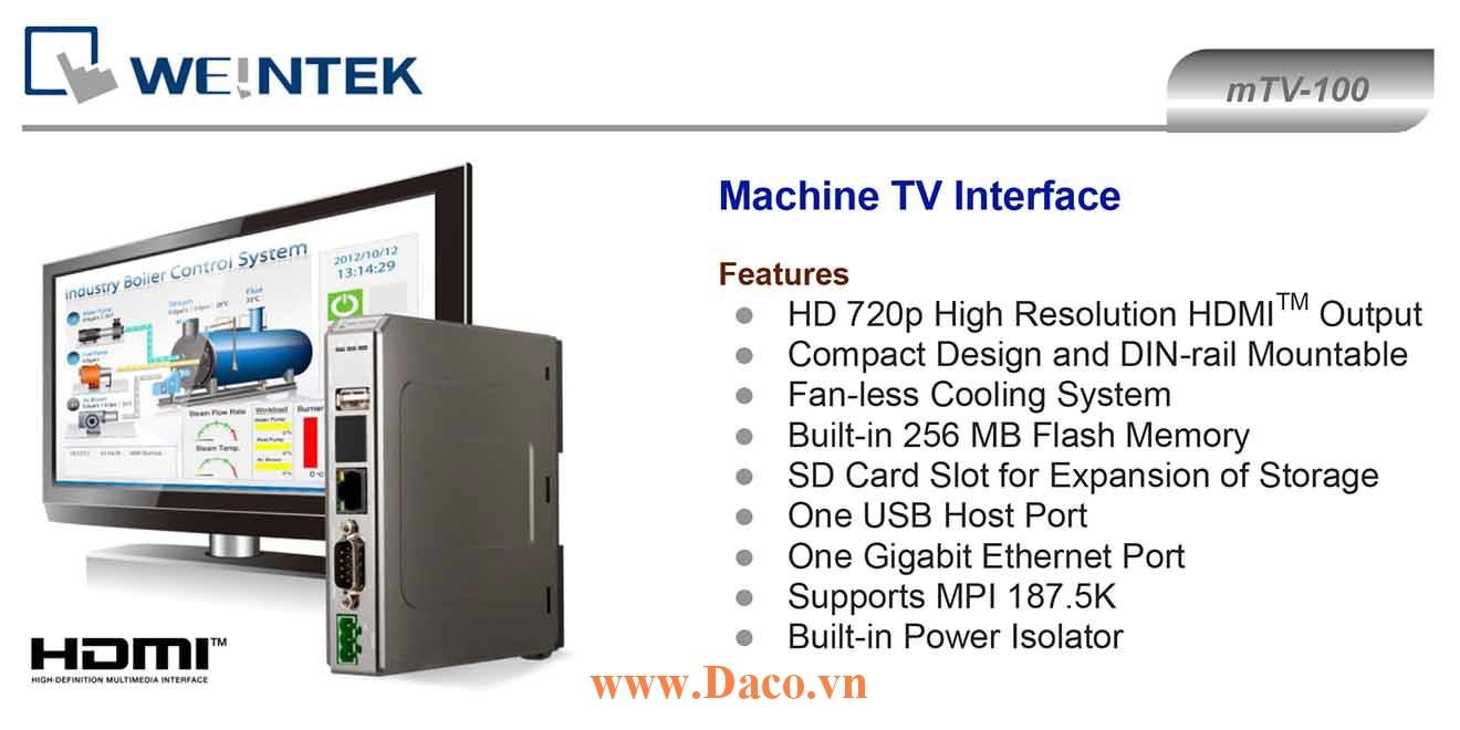 mTV-100 Bộ giao tiếp hiển thị Tivi HDMI Weintek mTV  Màu RS232, RS422, RS485, LAN