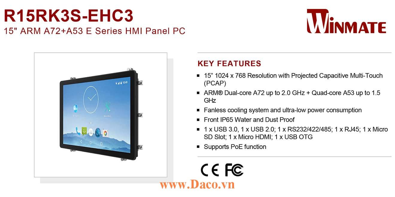"""R15RK3S-EHC3 Màn hình cảm ứng HMI Winmate 15"""" 1024 x 768 OS Android 7.1"""