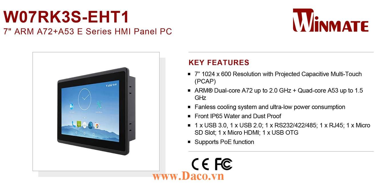 """W07RK3S-EHT1 Màn hình cảm ứng HMI Winmate 7"""" 1024 x 600 OS Android 7.1"""