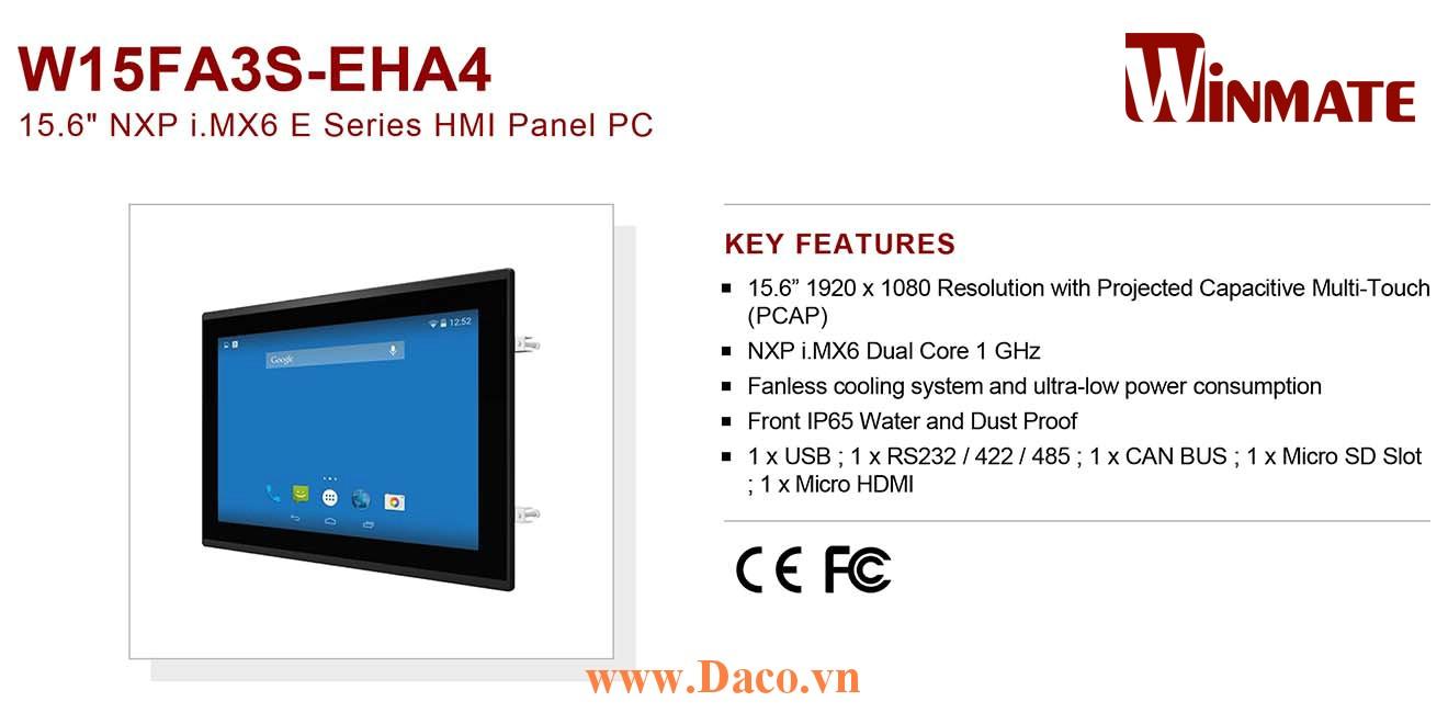 """W15FA3S-EHA4 Màn hình cảm ứng HMI Winmate 15.6"""" 1920 x 1080 OS Options"""