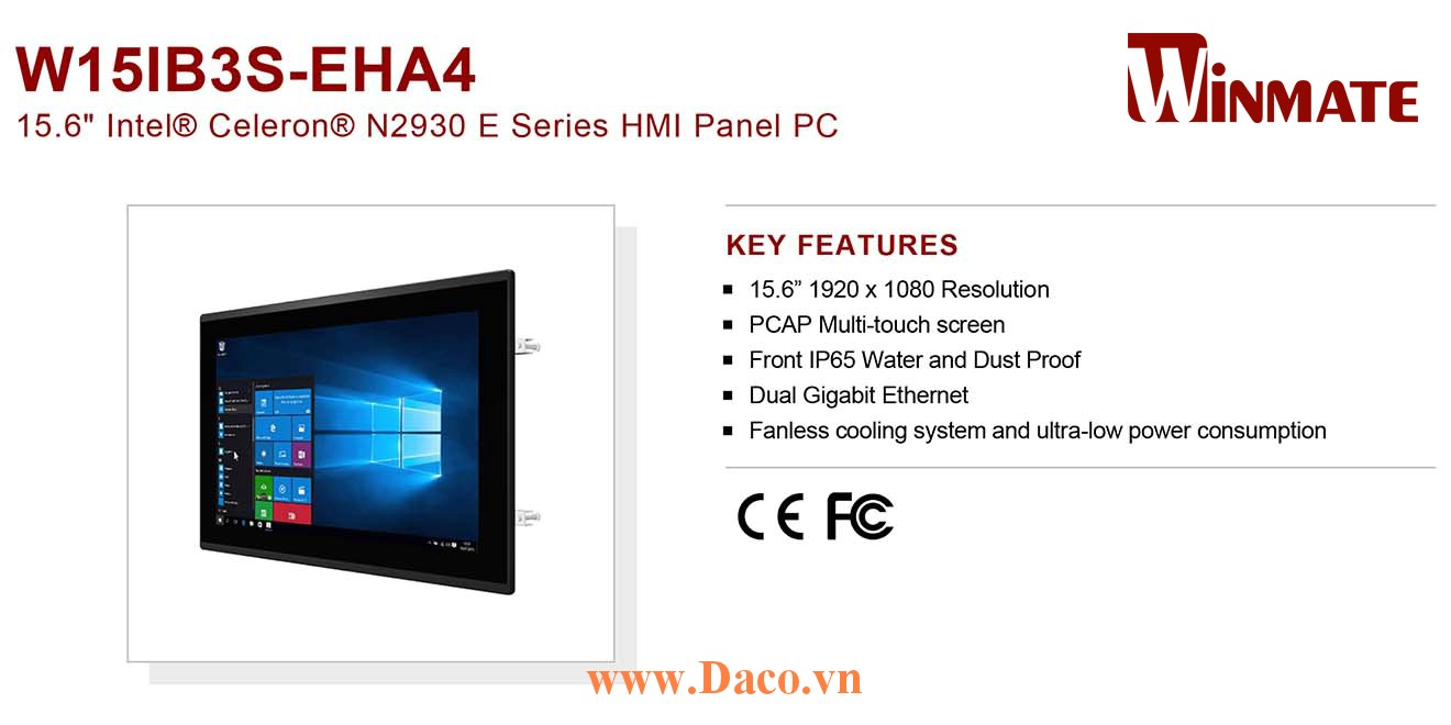 """W15IB3S-EHA4 Màn hình cảm ứng HMI Winmate 15.6"""" 1920 x 1080 OS Options"""
