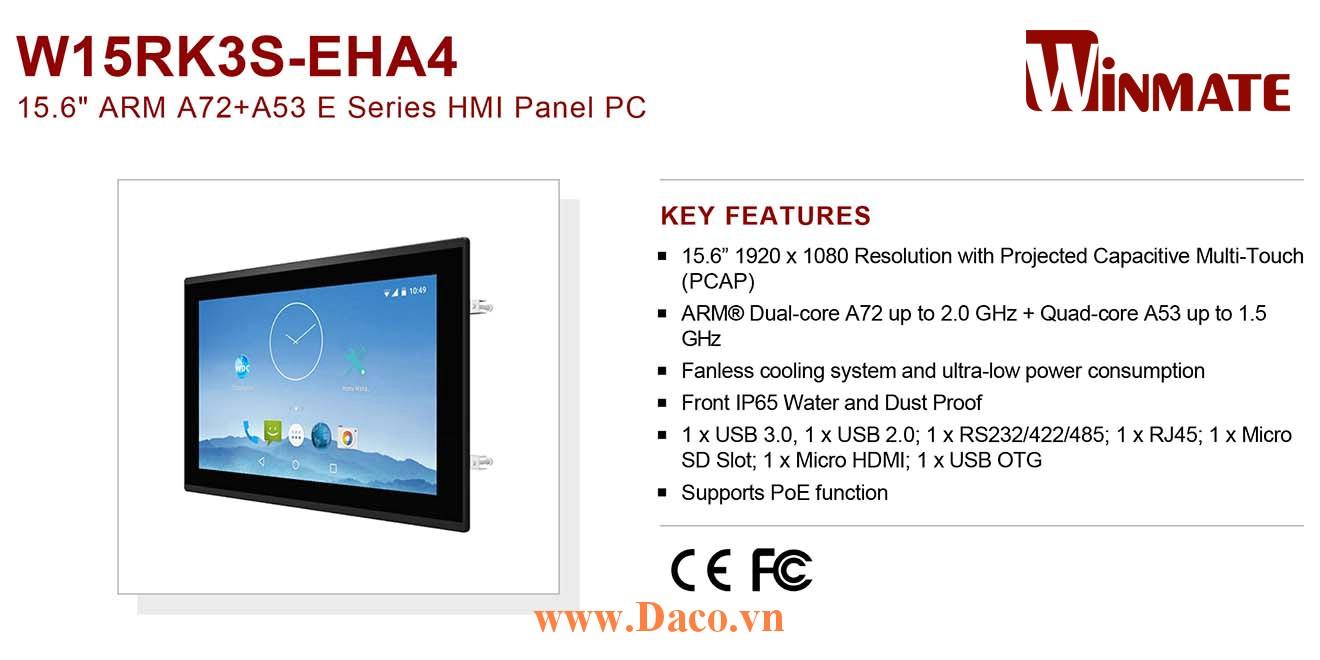 """W15RK3S-EHA4 Màn hình cảm ứng HMI Winmate 15.6"""" 1920 x 1080 OS Android 7.1"""